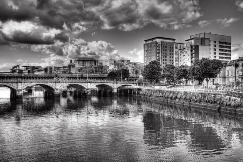 The river clyde in the city of Glasgow Scotland