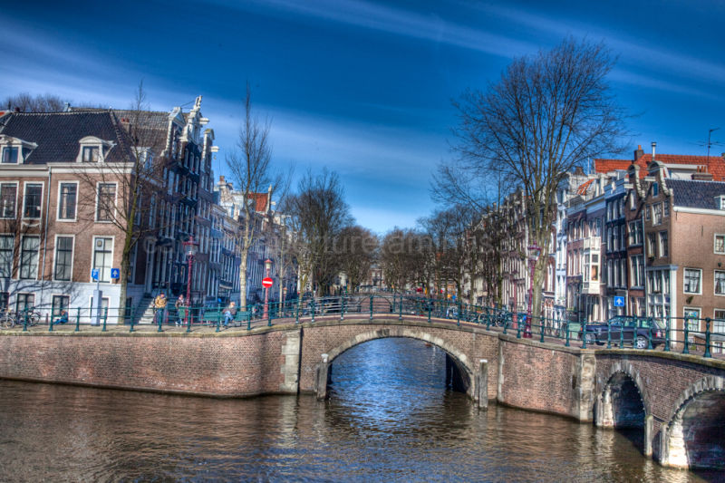 A canal bridge in the city of Amsterdam