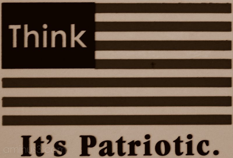 patriotic think sticker