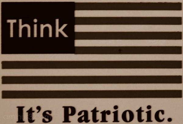 patriotic think sticker