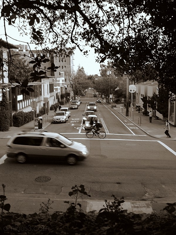 street crossing cars bicycle intersection