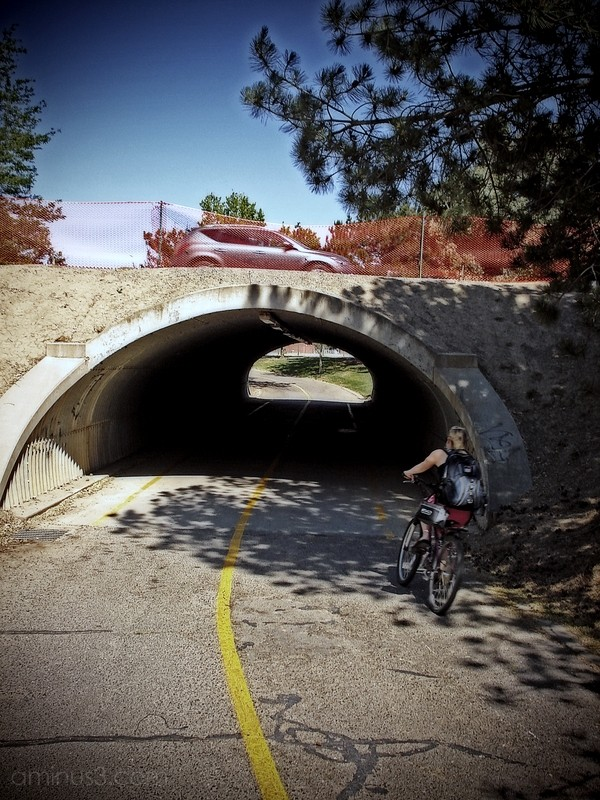 bicycle bike car tunnel underpass path