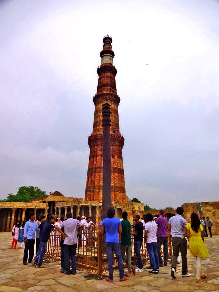 Aligned Qutb Minar and Iron Pillar