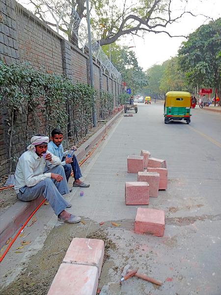 sidewalk brick layers