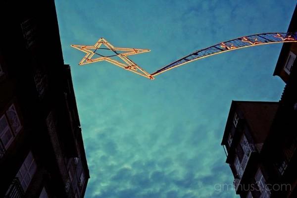 a star in christmas street illuminations