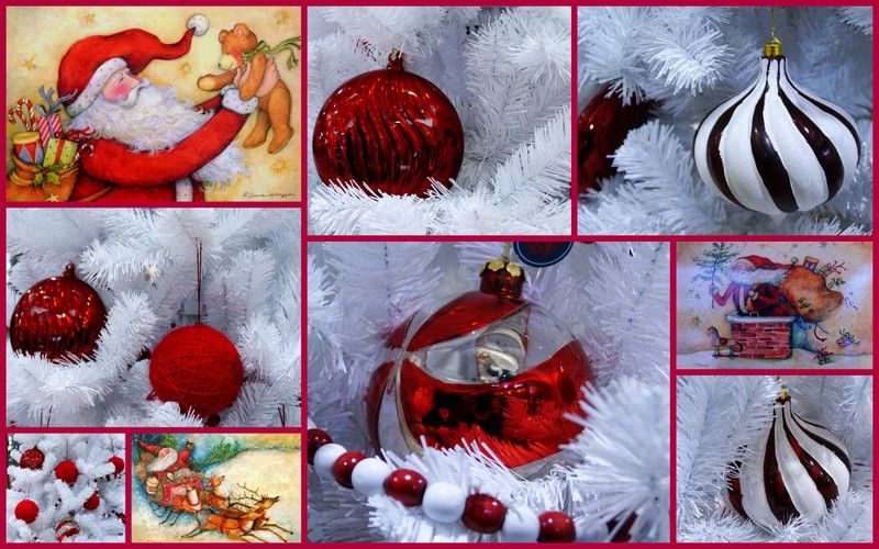 A collage of Christmas decorations