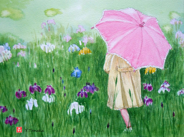 Girl with a pink parasol, watercolour