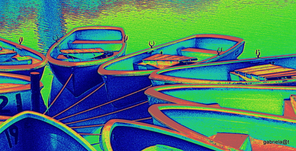 Colours on boats, digital impression