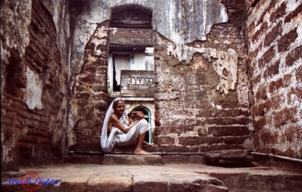 Dilapidated home and its inhabitant. Puri, India.