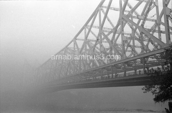 Howrah Bridge covered in fog
