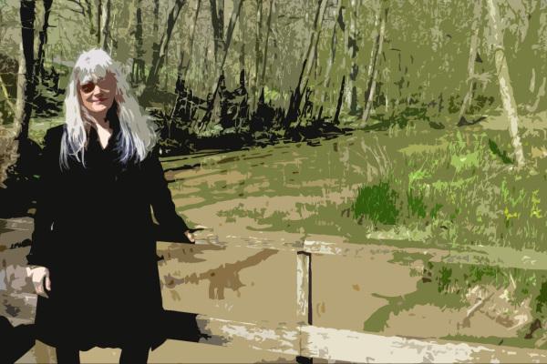 On the little bridge.