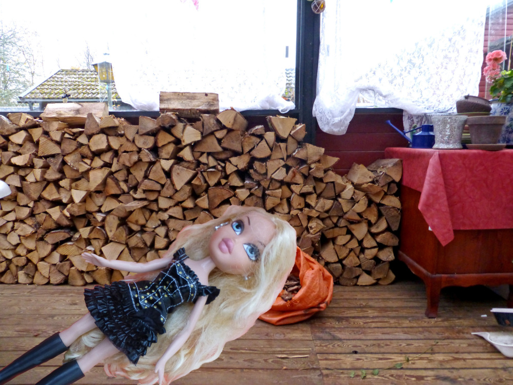 Sleeping Beauty 2.0 after chopping wood.