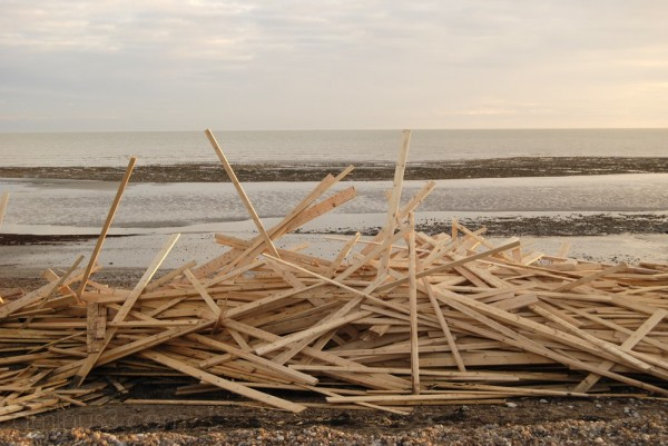 Washed up wood at Worthing