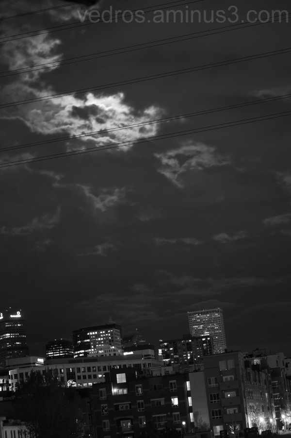 clouds, downtown, denver, skyline, moon