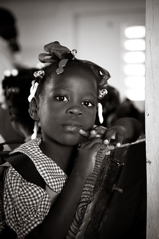 haitian school girl black and white