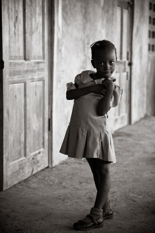 shy haitian girl in school uniform
