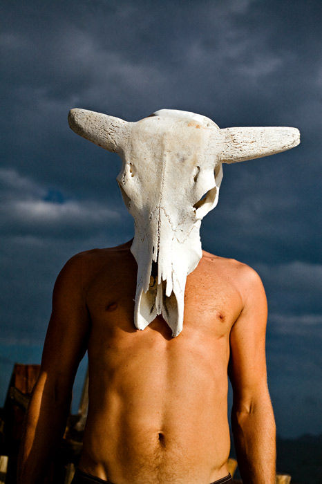 sky man cow mask bull skull real