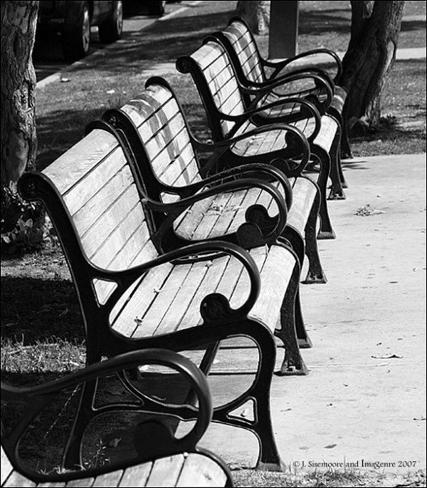 park benches all in a row