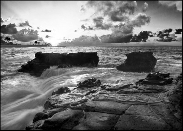 sunrise at sandy beach - bw version
