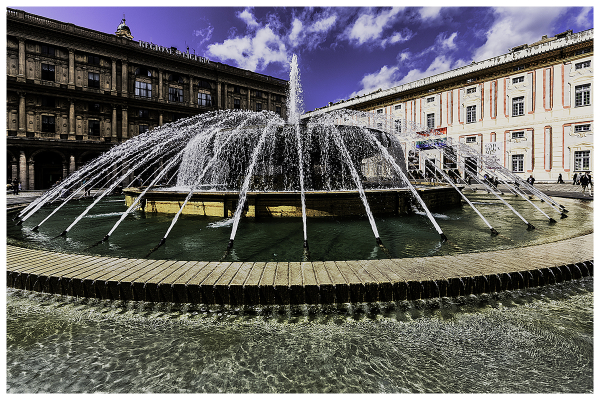 a fountain in genoa, italy