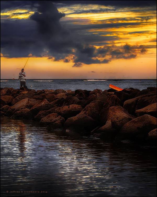 fishing at sundown