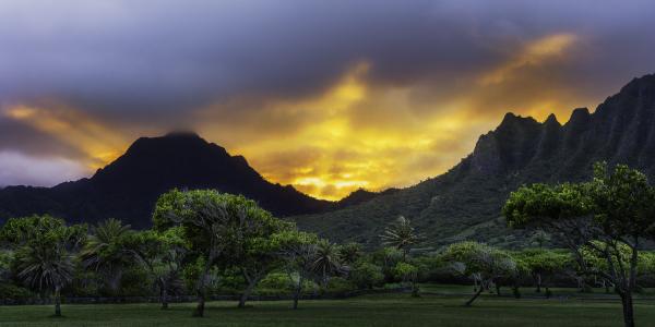 sunset at the kualoa mountains