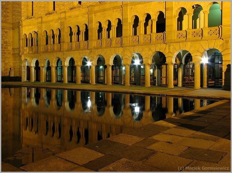 Reflection of UWA building at night.