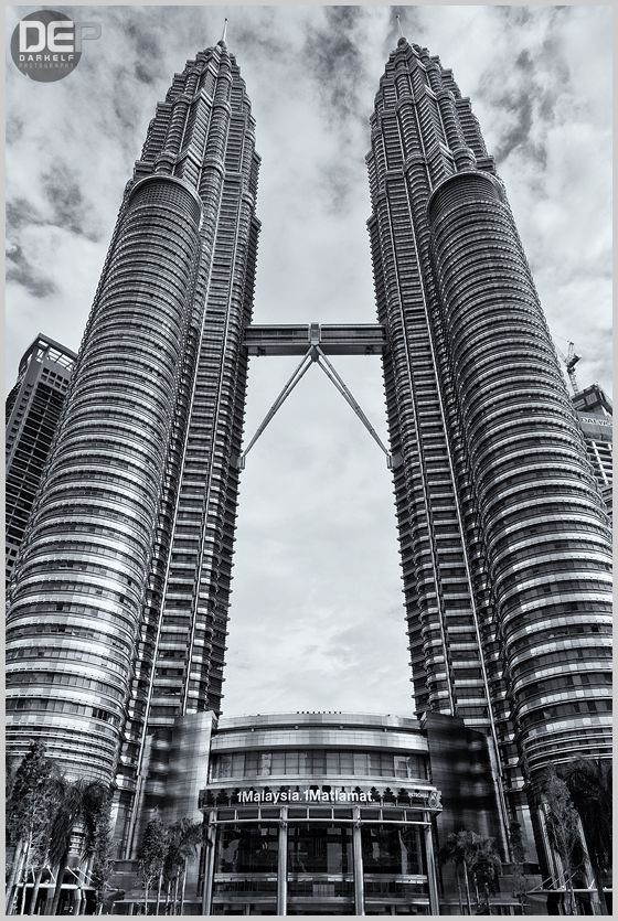 KL Towers in B&W