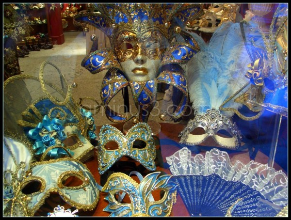 Masks in a window Venice Italy