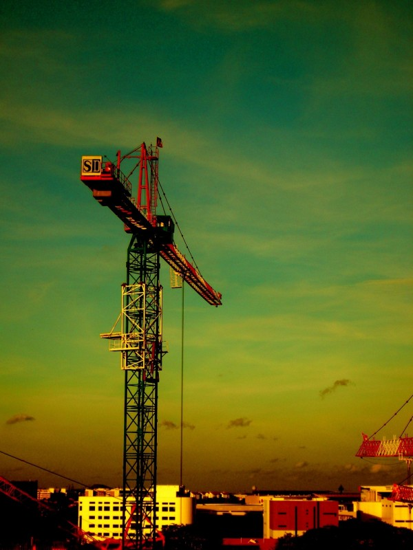 Cranes.