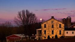 Moon Setting Over Amish Farm