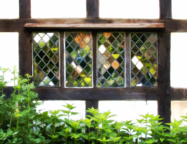 Window of Tudor House in Bournville, England