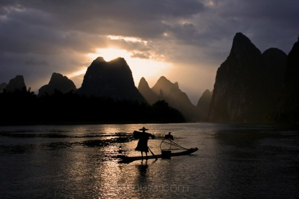 Cormorant Fishing on the Li River, Guangxi, China