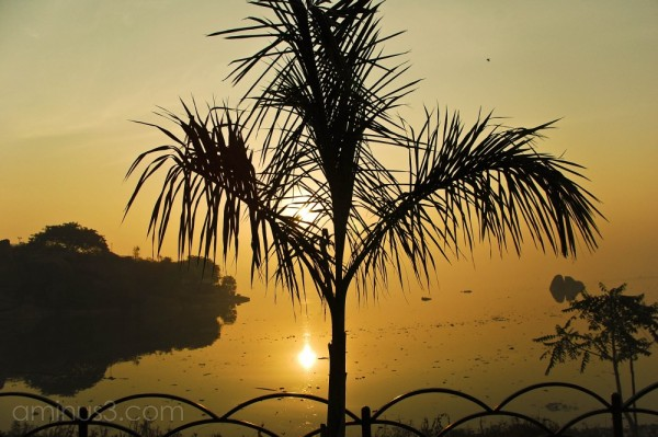 Sunrise on HussainSagar .