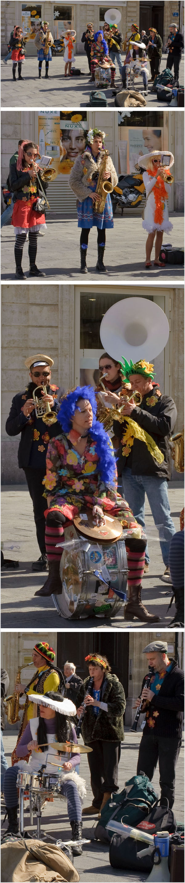 Brass band playing in Montpellier, France.
