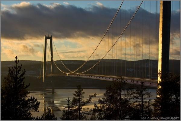 Closeup of Bridge at sunset