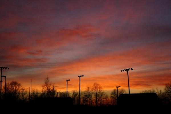Sunset over little league park