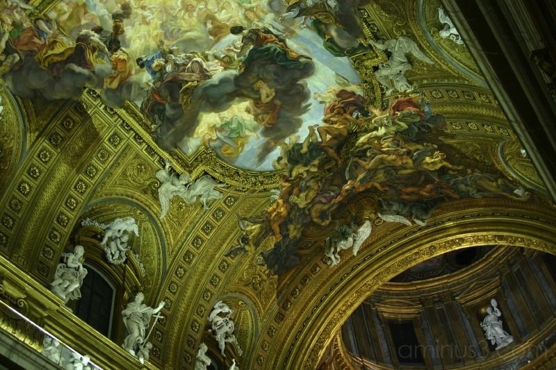 ceiling fresco, Il Gesù, Rome, Italy