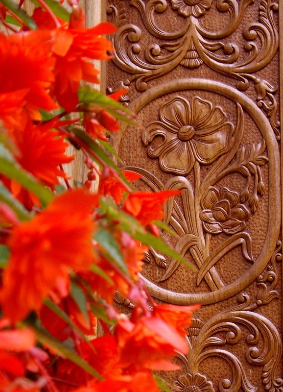 Carved door and flowers