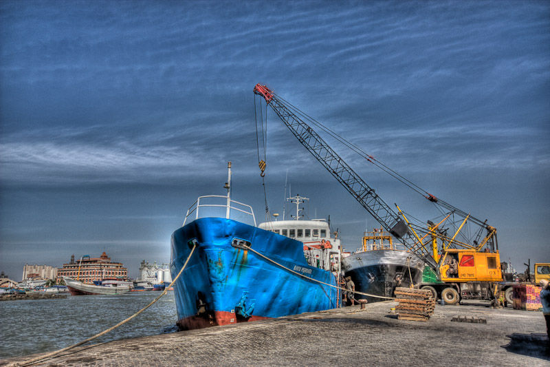 blue ship in HDR