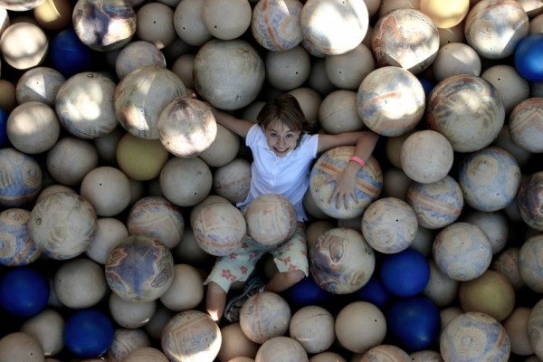 balls pit playing smiles jump