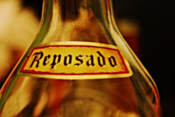 Reposado Label on a Bottle of Cuervo Tequila
