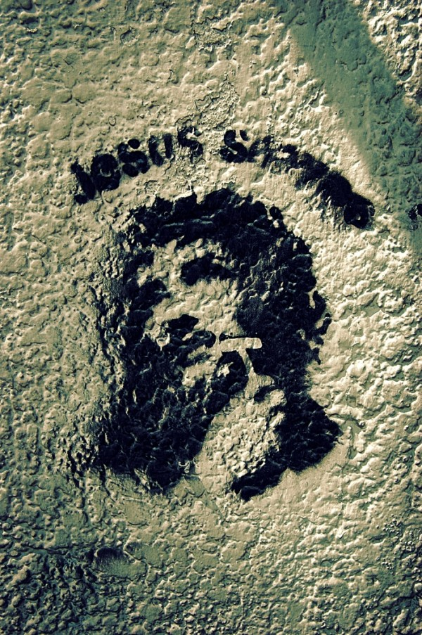"""Jesus Shaves"" Stencilled Grafitti"