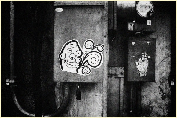 Monster Sticker Graffiti in Black and White