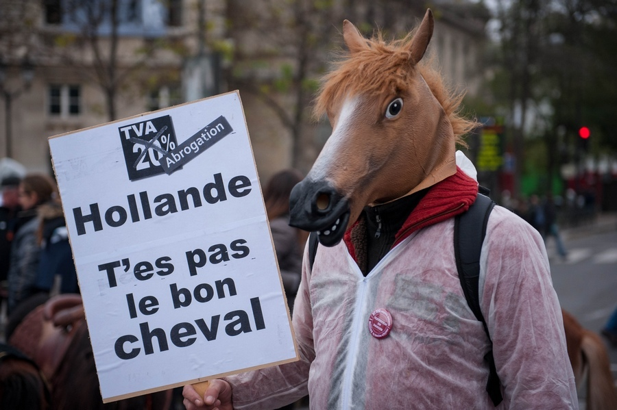manifestation contre l'equitaxe, Paris.