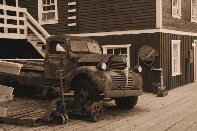 sepia old dodge truck