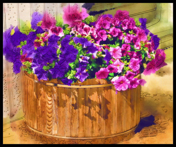 A Barrel of Petunias