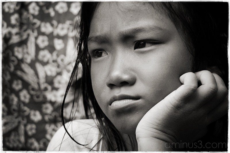 Child Portrait in Black & White, Thailand.