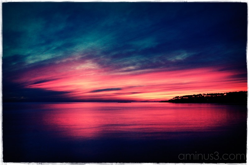 Sunrising over the bay, Antibes, France.