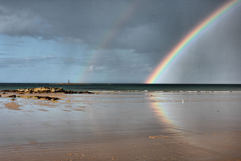 Rainbow Covesea Beach Moray Firth Scotland UK